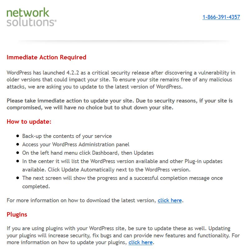 Network Solutions Update Mandate